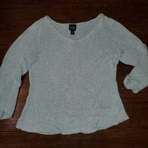 Cute Light Blue Quarter Sleeve Sweater